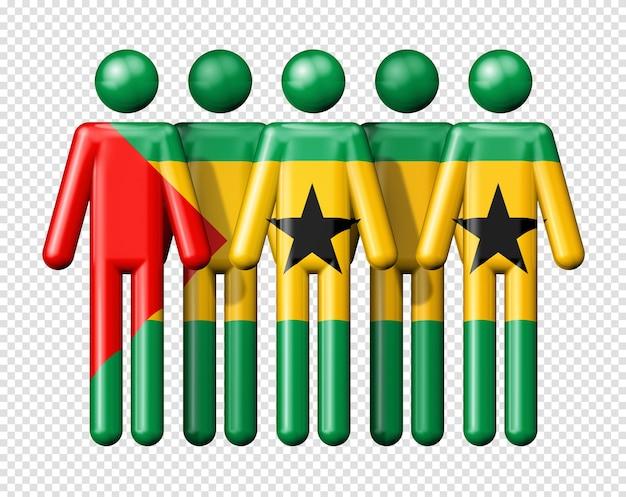 Bandiera di sao tome e principe sulla figura stilizzata simbolo della comunità nazionale e sociale