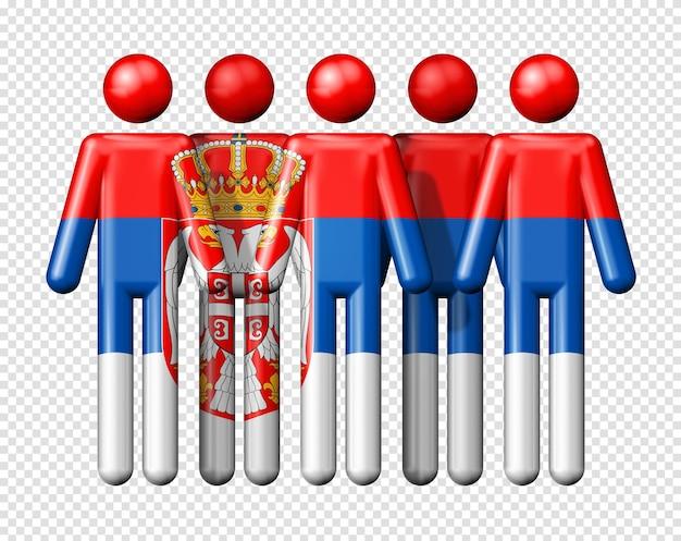 Bandiera della serbia sul simbolo 3d della comunità nazionale e sociale di figura stilizzata