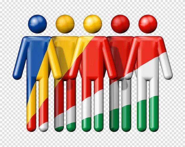 Bandiera delle seychelles sulla figura stilizzata simbolo 3d della comunità nazionale e sociale