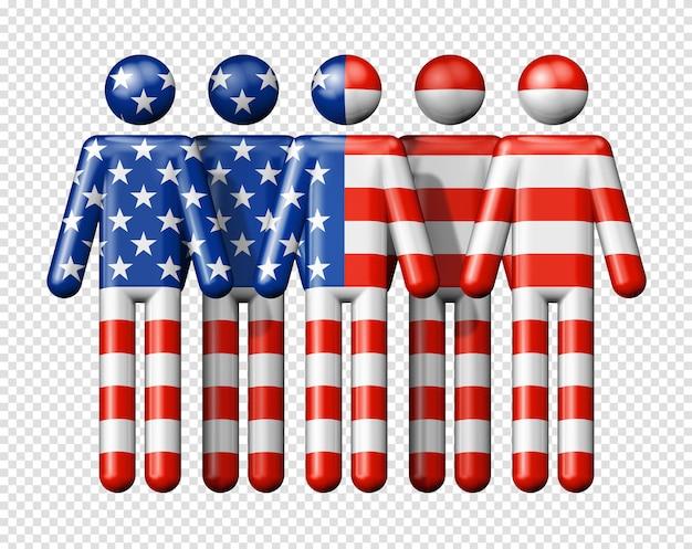 Bandiera degli stati uniti sulla figura stilizzata