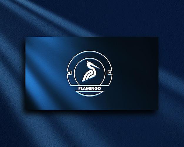Flamingo close up logo mockup psd premium