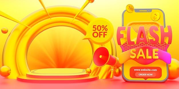 Modello promozionale di banner web moderno di vendita flash
