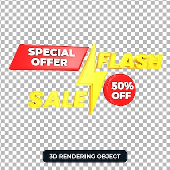 Offerta di vendita flash 3d render isolato
