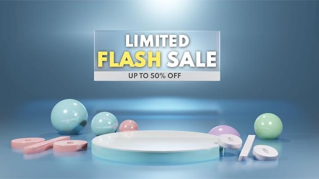 Rendering 3d del podio di vendita flash per il posizionamento della presentazione del prodotto in colori pastello