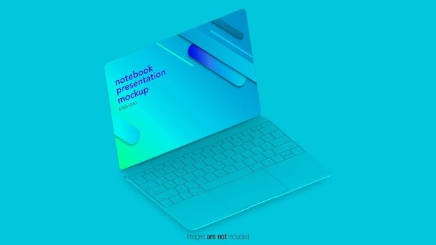 Mockup del computer portatile di concetto piatto nella progettazione 3d
