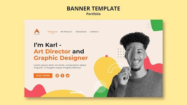 Design piatto del modello di banner di portfolio
