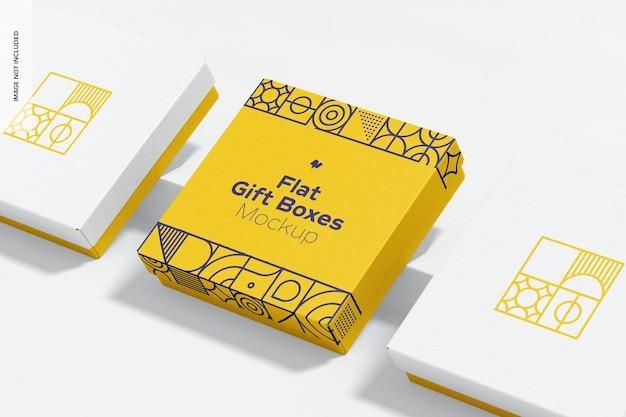 Mockup di scatole regalo piatto Psd Premium