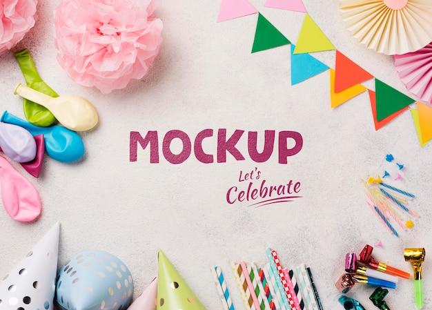 Laici piatta del concetto di compleanno mock-up