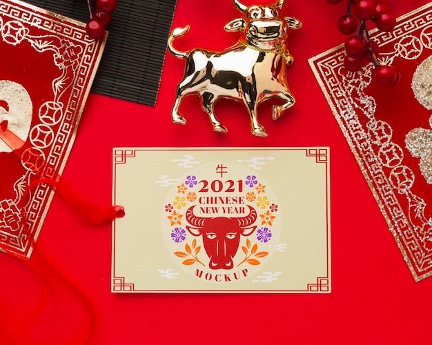 Lay piatto di mock-up del capodanno cinese