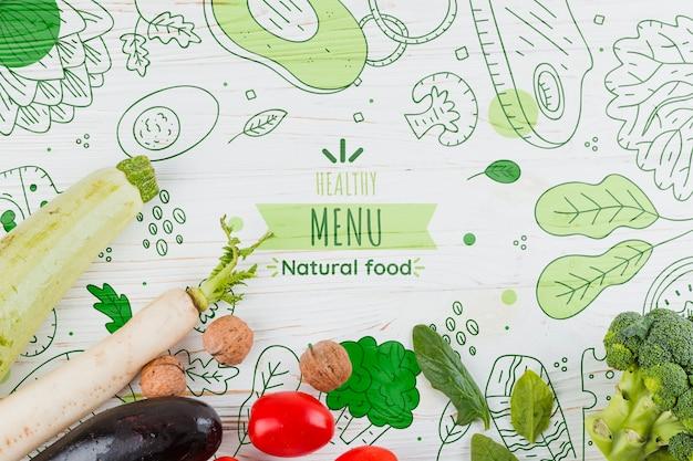 Composizione piatta laici di verdure Psd Premium
