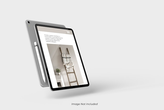 Flaying close up sul dispositivo tablet mockup isolato