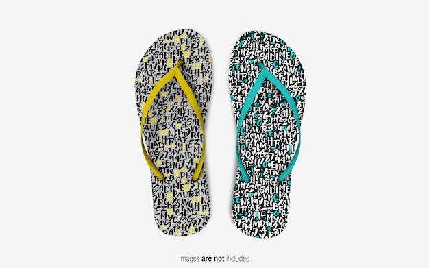 Flip flop slippers mockup vista dall'alto
