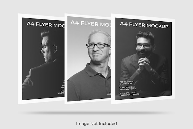 Mockup di brochure flyer a4 galleggiante