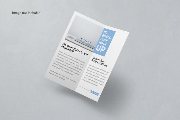 Floating bi-fold dl flyer mockup