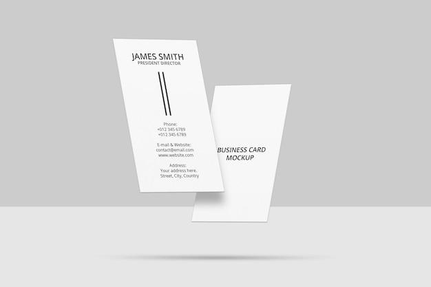 Design di mockup di biglietti da visita galleggianti