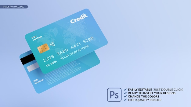 Rendering 3d di mockup di progettazione di carte di credito galleggianti