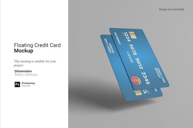 Progettazione di mockup di carta di credito galleggiante