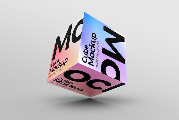 Mockup di scatola cubica galleggiante per il branding e le presentazioni dei prodotti