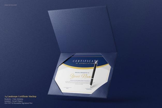 Mockup di certificato di diploma accademico a4 paesaggio galleggiante elegante con vetrina supporto in pelle