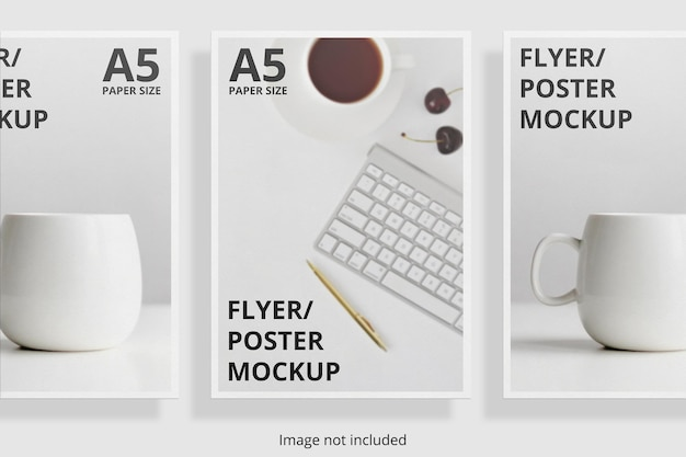 Design mockup brochure flyer galleggiante