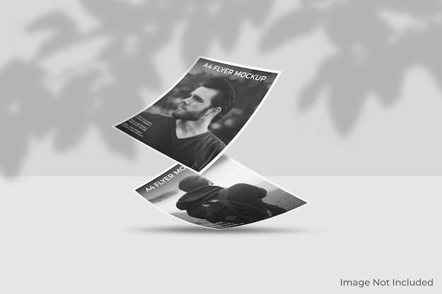 Mockup di brochure flyer galleggiante con sovrapposizione di ombre