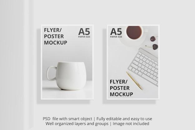 Modello di brochure flyer galleggiante con sovrapposizione di ombre