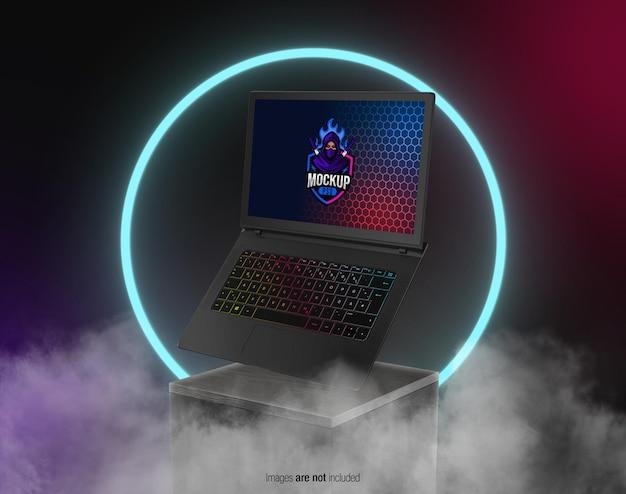 Laptop da gioco galleggiante sul mockup del display