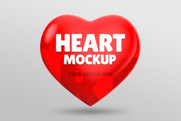 Mockup di cuore galleggiante