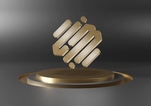Logo galleggiante sul modello di podio sul palco