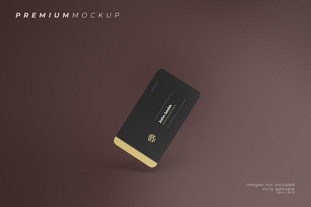 Composizione minimalista ed elegante galleggiante di mockup di biglietti da visita