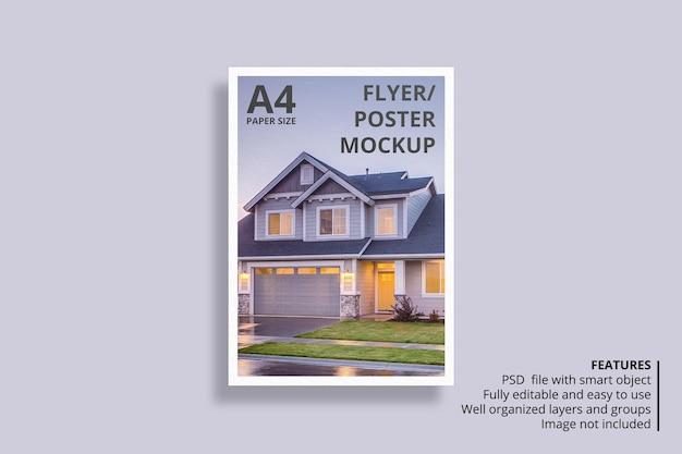 Design di mockup di brochure di carta o volantino galleggiante