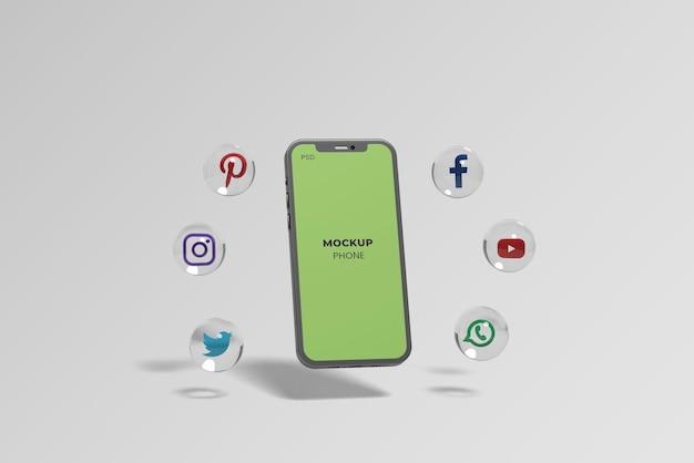 Mockup di telefono galleggiante con icona 3d