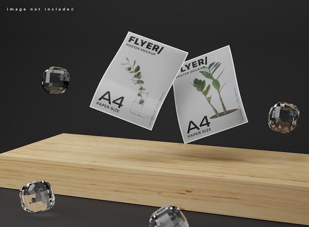 Mockup di poster a4 realistico galleggiante.