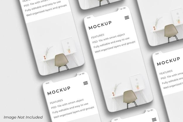 Schermo mobile dello smartphone per il mockup di presentazione dell'app ui ux