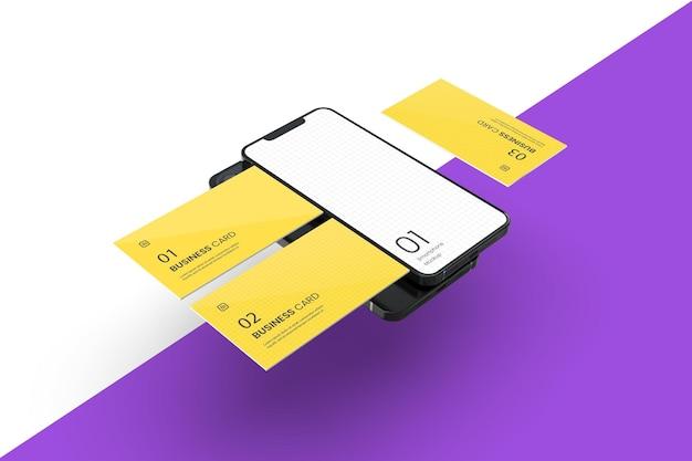 Smartphone galleggiante con mockup di biglietti da visita