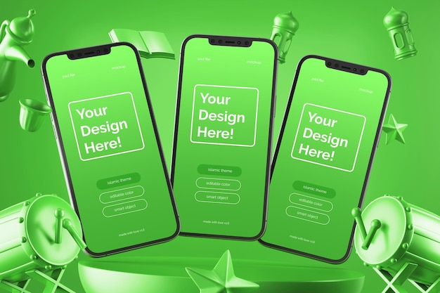 Mockup di smartphone galleggianti elementi di rendering 3d ramadan eid mubarak