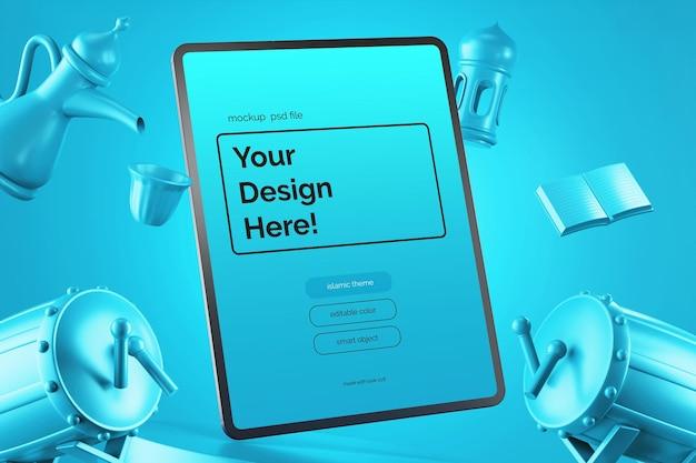 Floating tablet screen mockup design culturale ramadan eid mubarak theme