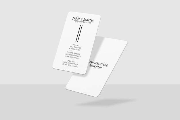 Design di mockup di biglietti da visita verticali galleggianti