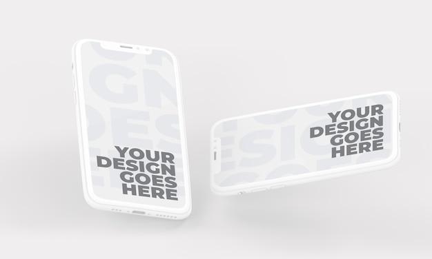Mockup di smartphone bianco galleggiante in posizione verticale e orizzontale