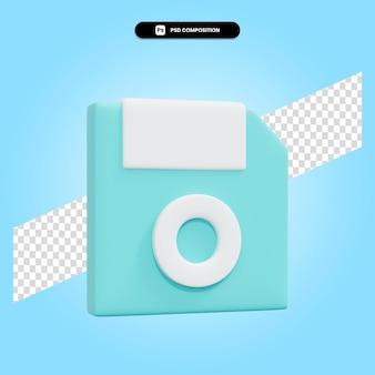 Il floppy disk 3d rende l'illustrazione isolata