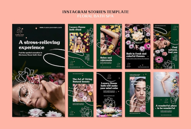 Modello di storie instagram floreali spa