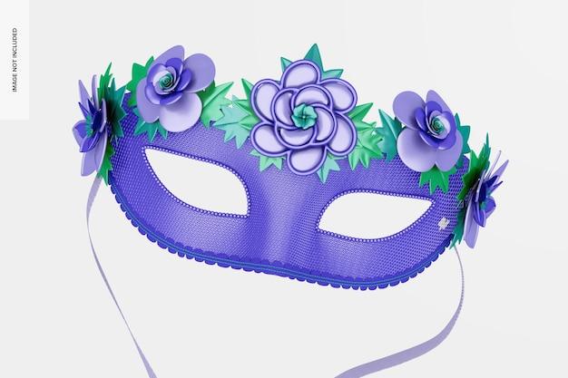 Mockup di maschera mezza faccia floreale veneziana, galleggiante