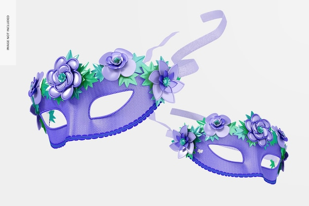 Mockup di maschere veneziane a mezza faccia floreali, cadenti