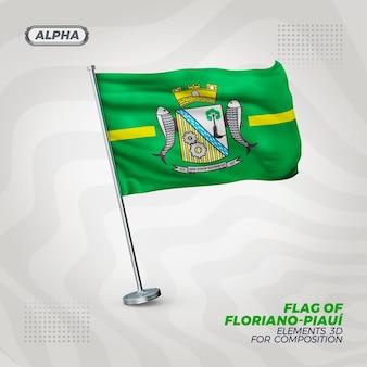 Floriano piaui bandiera strutturata 3d realistica