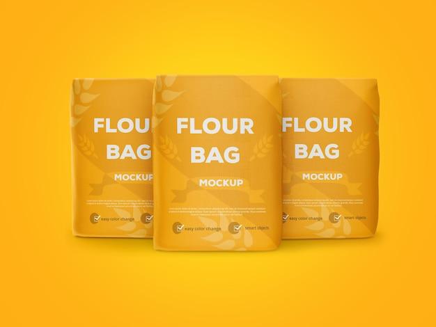 Vista frontale di rendering di design mockup sacchetto di farina