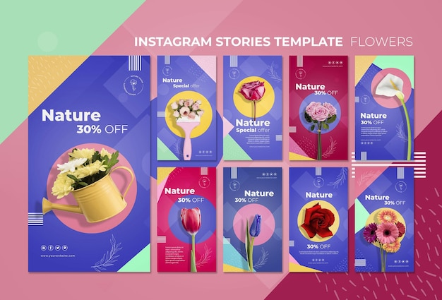 Modello di storie del instagram di concetto del fiore