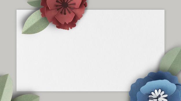 Mockup di banner grigio decorato con fiori