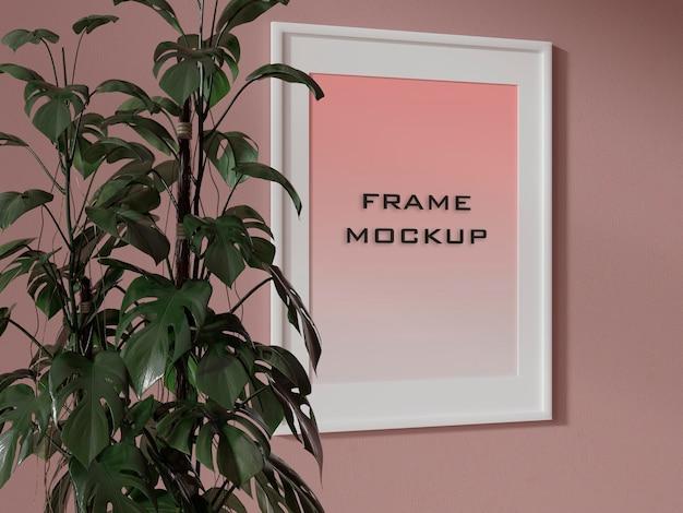 Mockup di parete rosa con cornice floreale psd premium