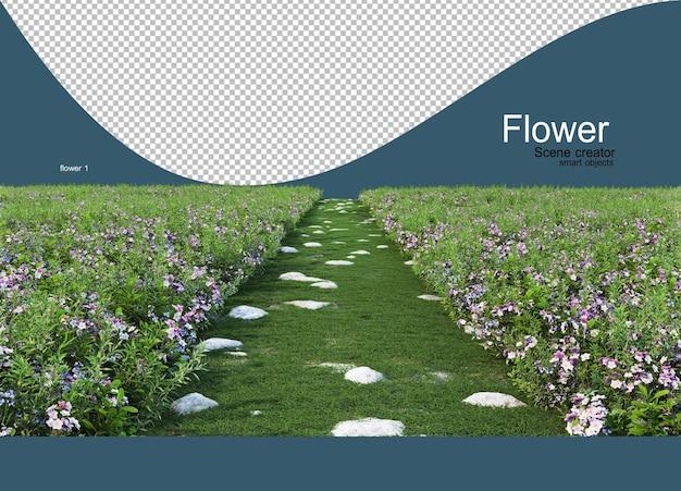 Un giardino fiorito con un sentiero che taglia il mezzo del giardino