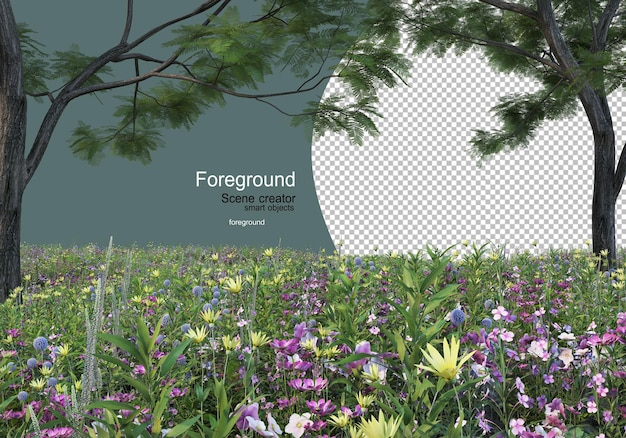 Giardini fioriti e arbusti con albero frontale